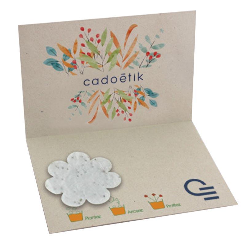 Carte de vœux publicitaire en papier végétal
