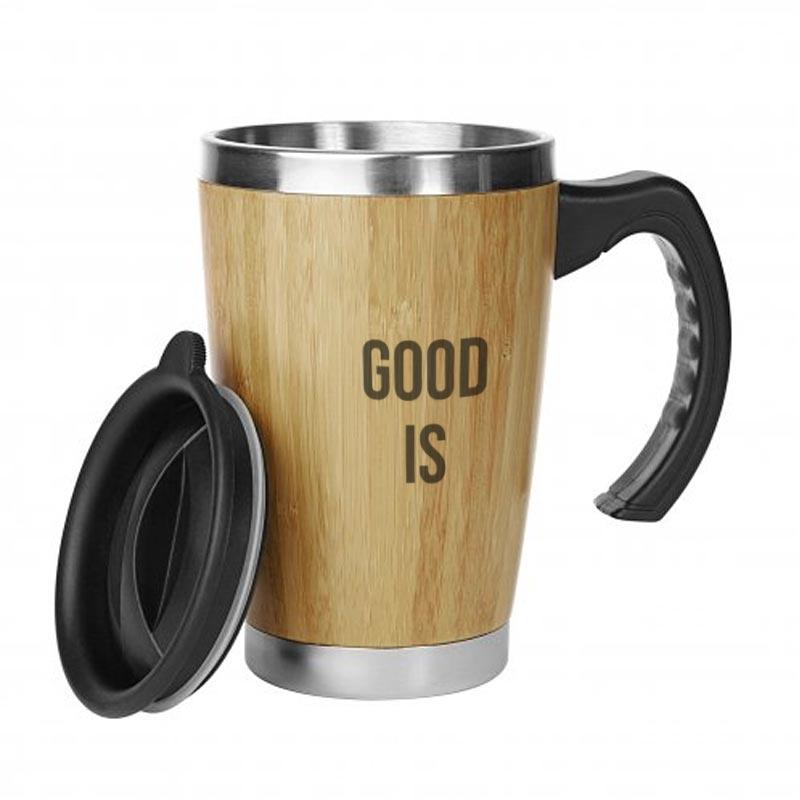 Mug publicitaire isotherme en bambou Batch 330 mL - Couvercle
