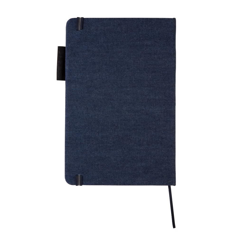 Carnet A5 publicitaire en Denim Blue avec couverture en tissu jean