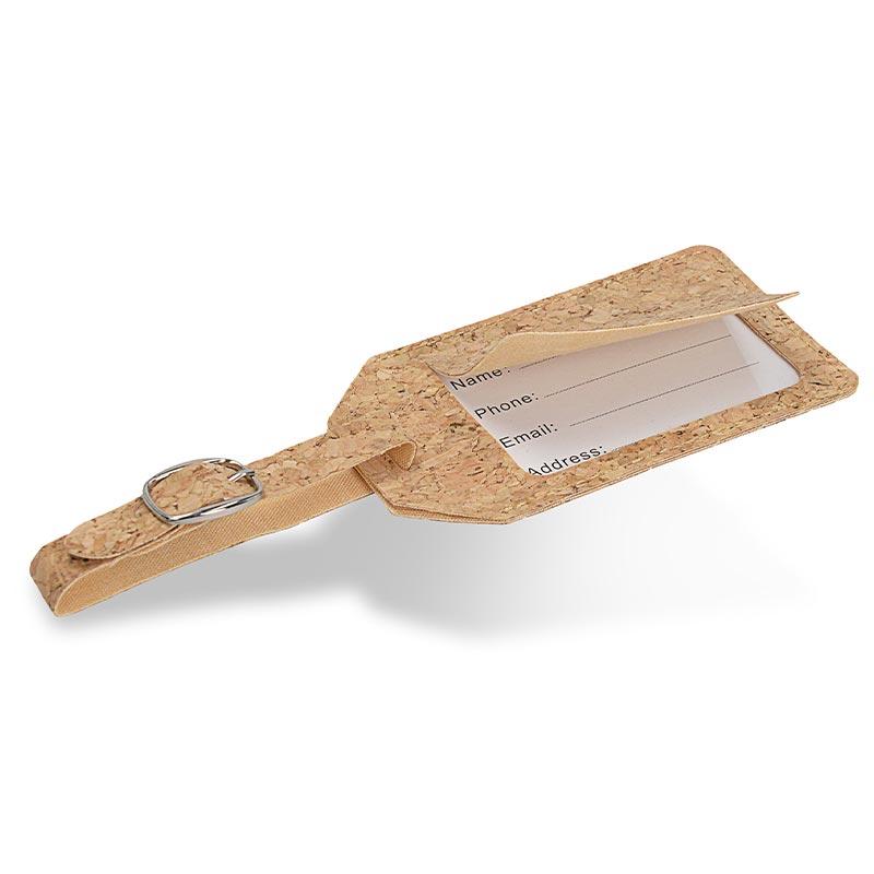 Étiquette à bagage publicitaire en liège Etili - Verso
