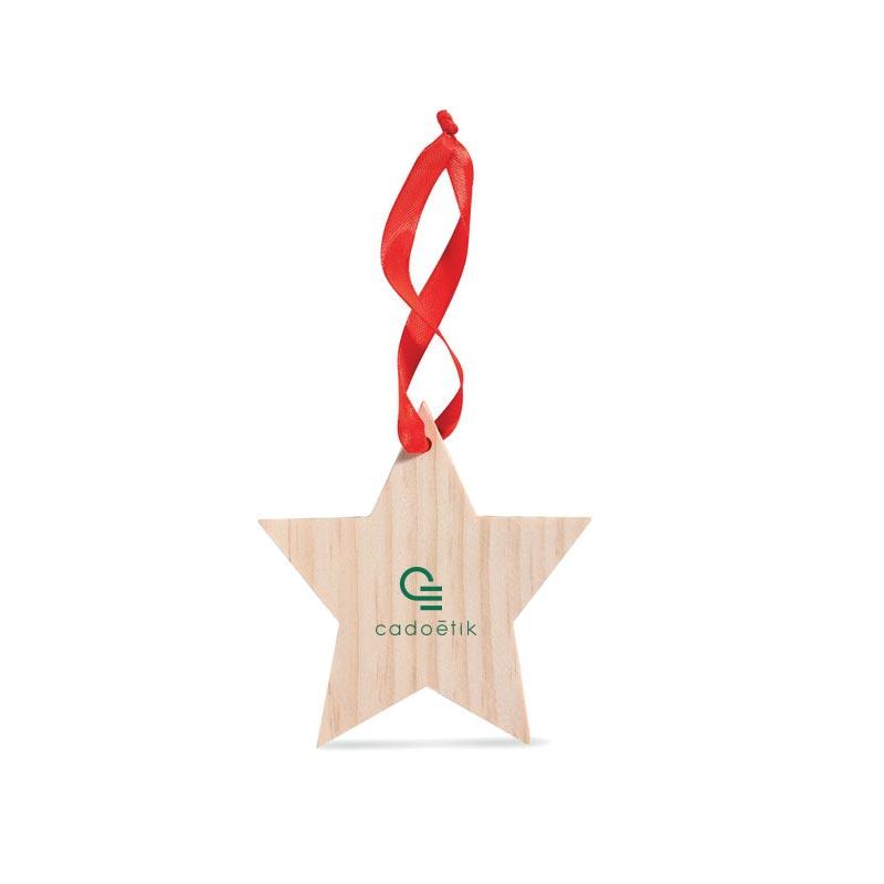 Étoile en bois à accrocher Woostar - Objet publicitaire de fin d'année
