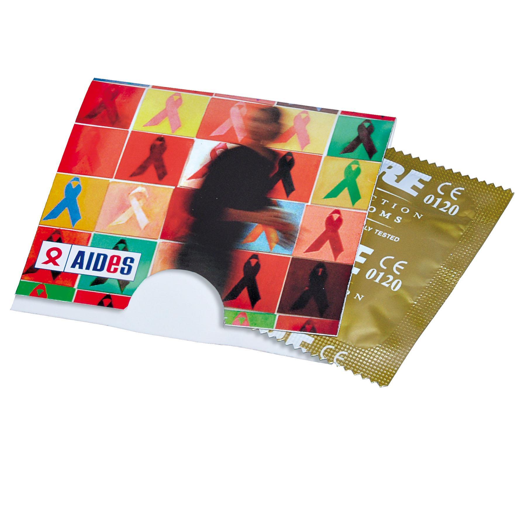 Objet promotionnel - Préservatif avec étui personnalisable en carton Love