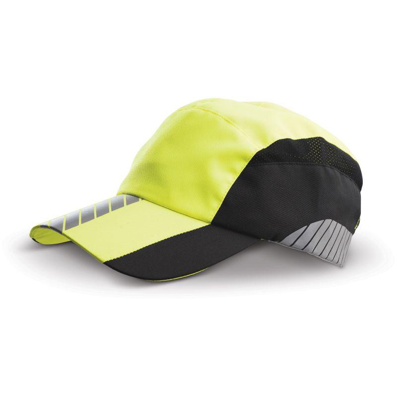 Casquette personnalisable avec visière et partie centrale jaune fluo (design réfléchissant), parties latérales noires : pour le