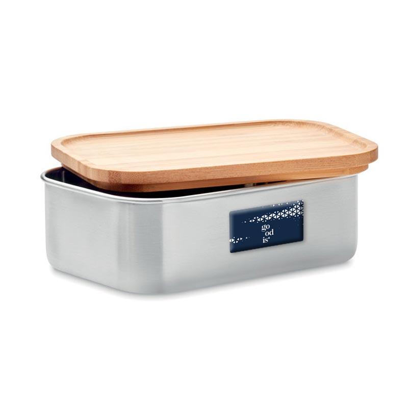 lunch box publicitaire en inox et bambou Savanna