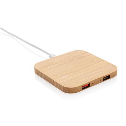 Chargeur à induction publicitaire 5W et double port USB en bambou