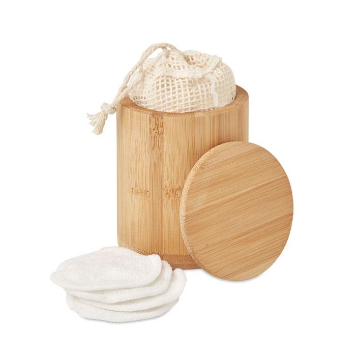 Boîte en bambou avec 20 disques démaquillants lavables publicitaire Bella 1