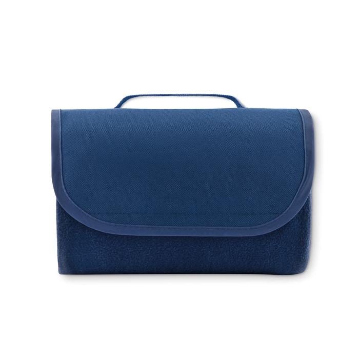 Couverture polaire bleu pliable publicitaire Mobimanta - cadeau publicitaire