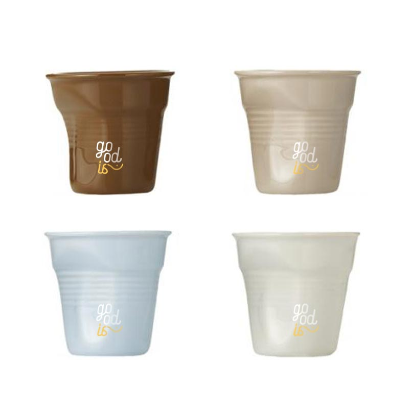 Set 4 tasses personnalisable en forme de gobelet - tasse publicitaire