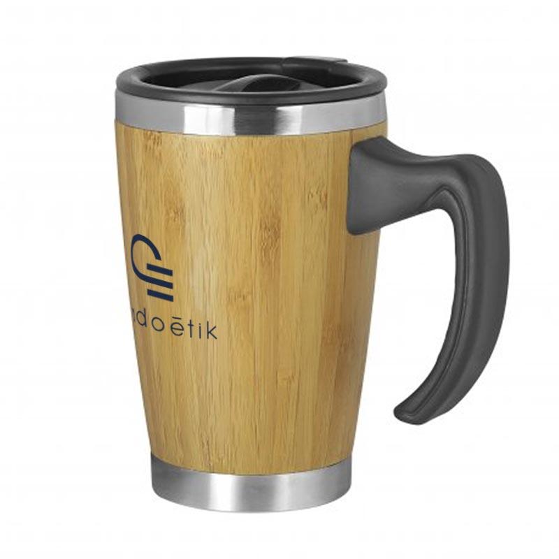 Mug publicitaire isotherme en bambou Batch 330 mL
