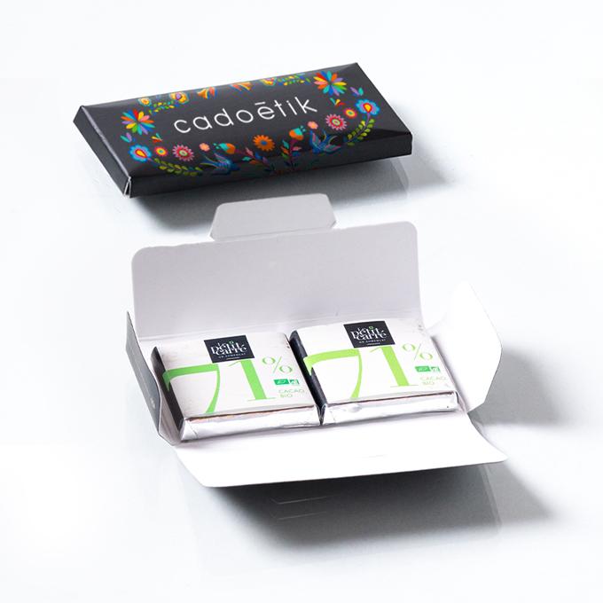 Carte enveloppe personnalisable 2 carrés de chocolat bio 4 g