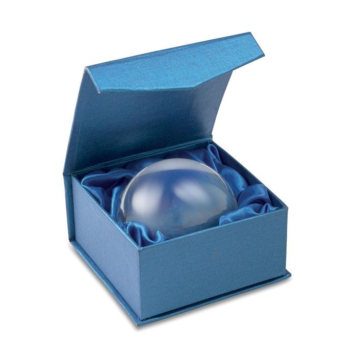 Presse-papiers publicitaire demi-sphère Ovale boite bleue