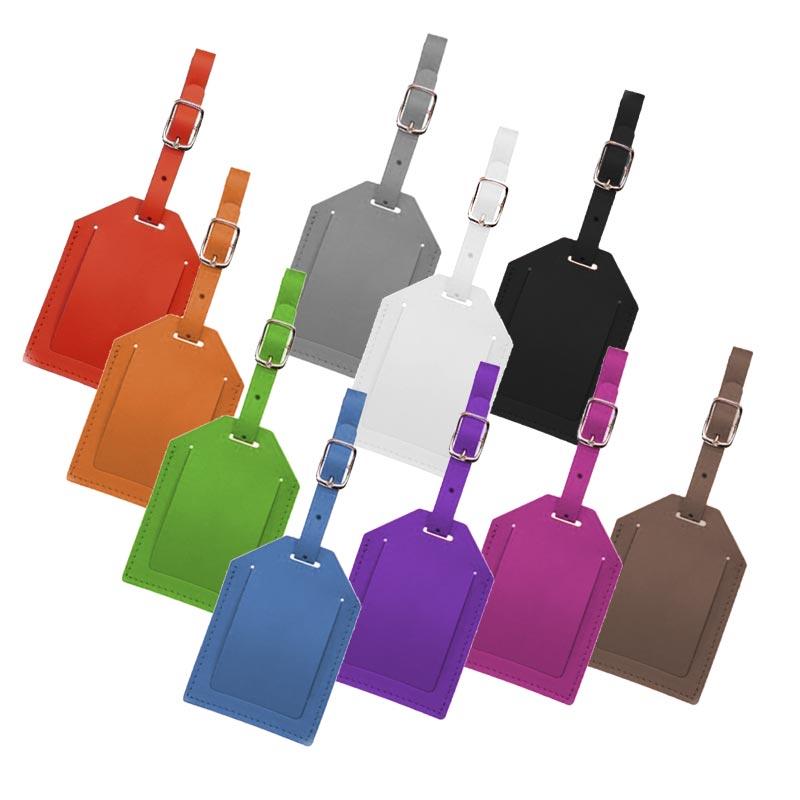 Porte étiquette bagage publicitaire en cuir recyclé World - Coloris disponibles