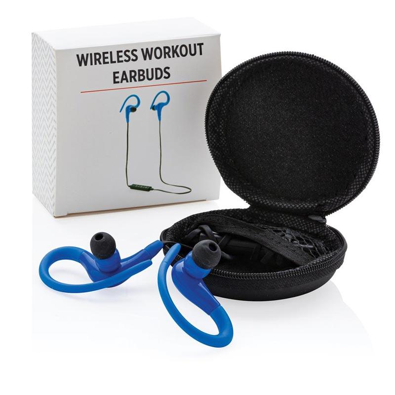 Pack cadeau entreprise contenant des écouteurs sport - bleu