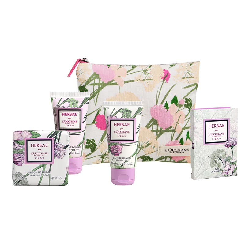 Produits cosmétiques L'Occitane en Provence avec pochette en coton