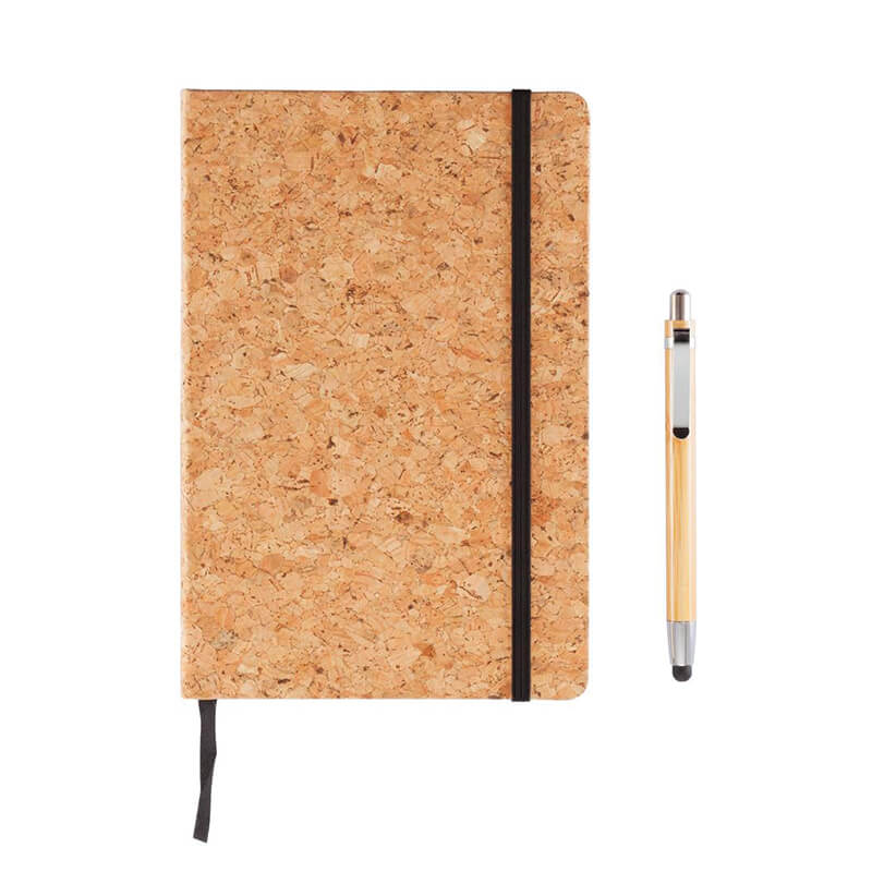 Goodies écologique - Carnet de notes Earth en liège avec stylo en bambou