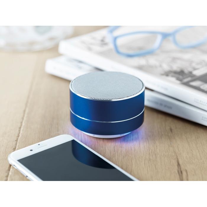 Cadeau publicitaire - Haut-parleur Bluetooth® personnalisé rond Sound - bleu