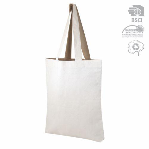 Sac shopping publicitaire écologique Visversa naturel/taupe - tote-bag publicitaire écologique