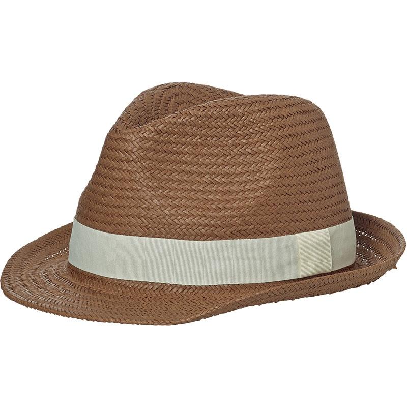 Chapeau publicitaire Urban chic, caramel avec ruban bleu marine
