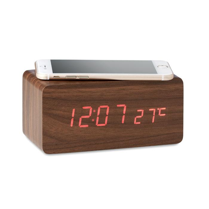 Cadeau d'entreprise - Horloge publicitaire et chargeur sans fil Buenos