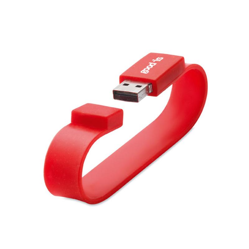 Clé USB publicitaire Silicone Wrist - Coloris rouge
