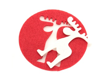 Sous-verre publicitaire en feutre rouge avec découpe cerf Mandi 1