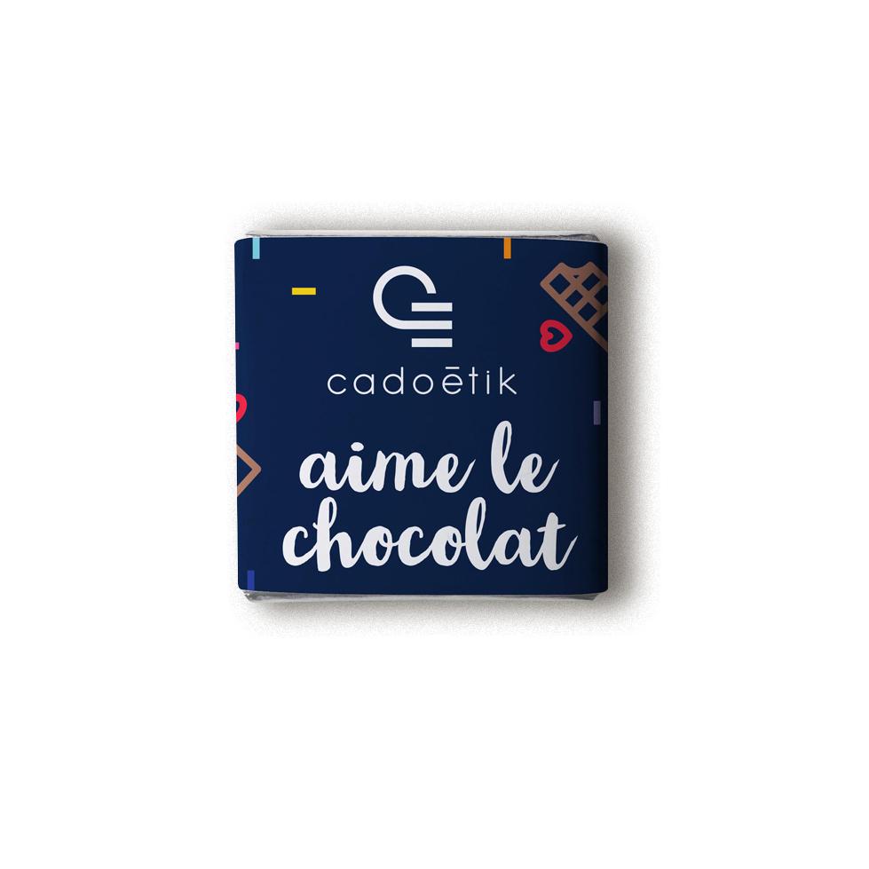 Carré de chocolat avec emballage personnalisé