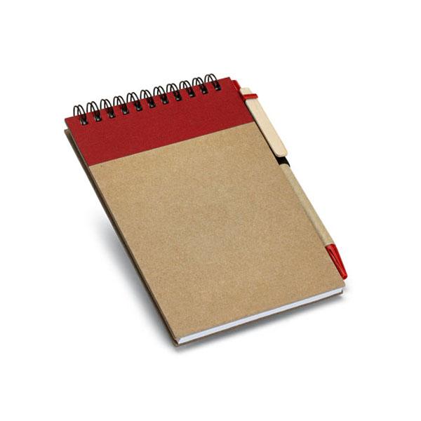 Carnet publicitaire écologique Diaries naturel/rouge - goodies écologique