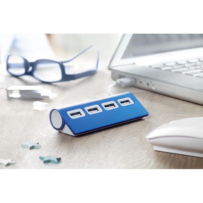 Hub USB publicitaire 4 ports Aluhub - Cadeau publicitaire high-tech