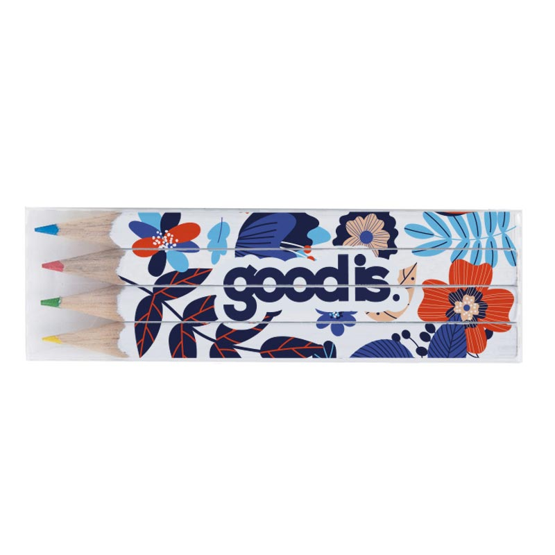 Set mini crayons personnalisés quadri 4 couleurs 8,7 cm