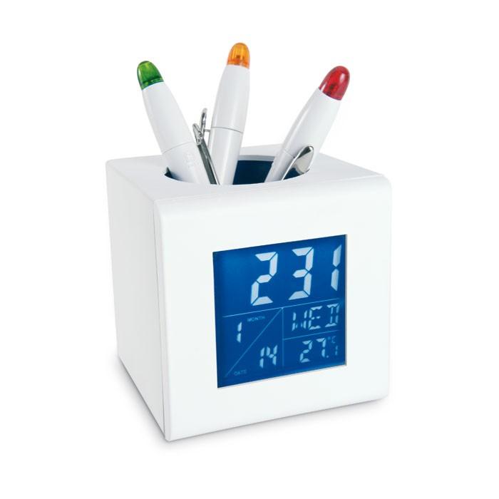 Station météo publicitaire fonction porte stylo