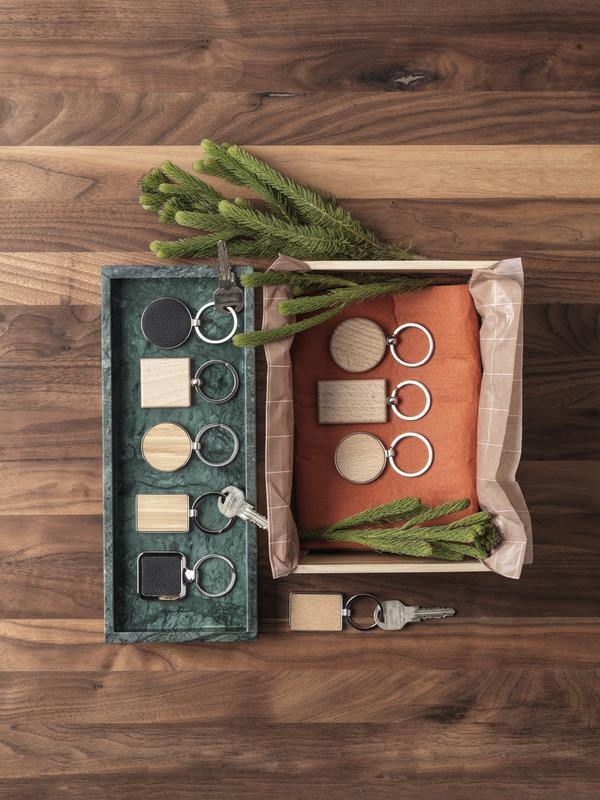 Porte-clés publicitaire rectangulaire en bois de hêtre Gian 3