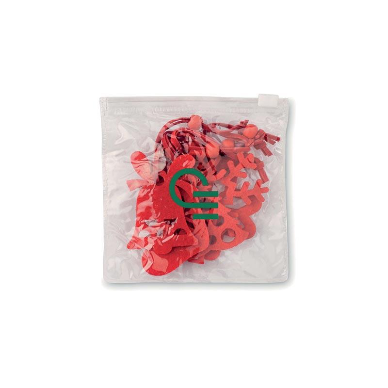 6 décoration en feutre rouge Xmas