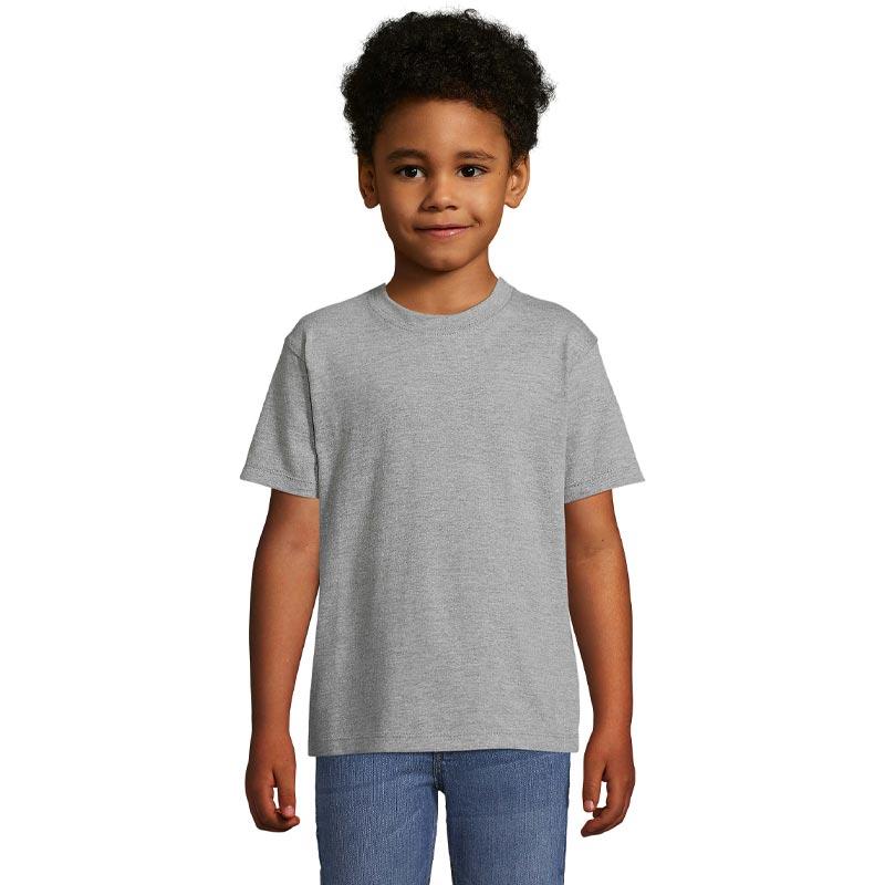 tee-shirt publicitaire enfant en coton gris - devant