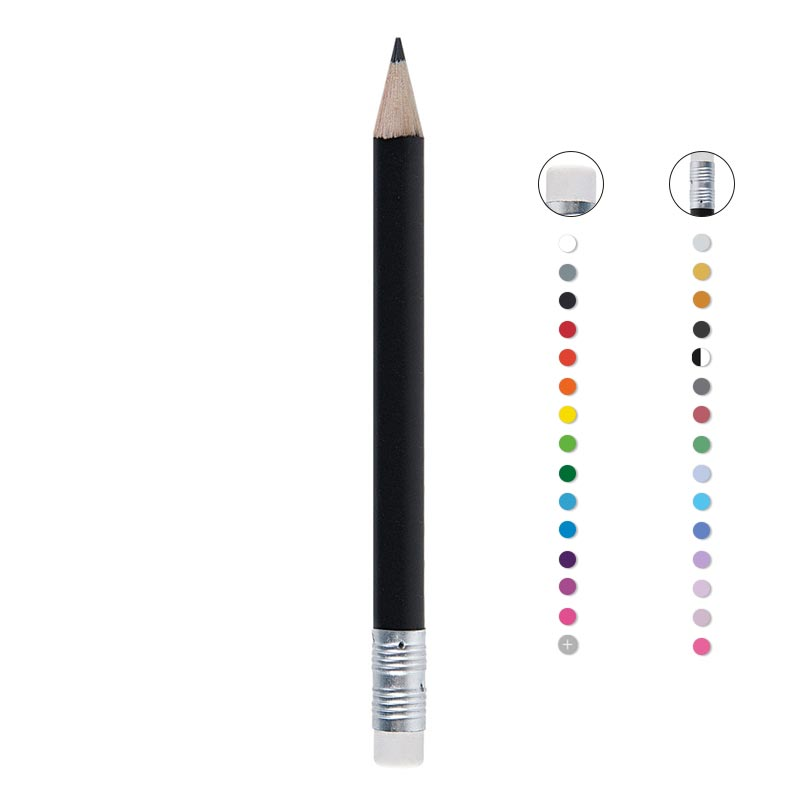 Mini crayon à papier publicitaire rond bout gomme Eco Pantone - Coloris disponibles