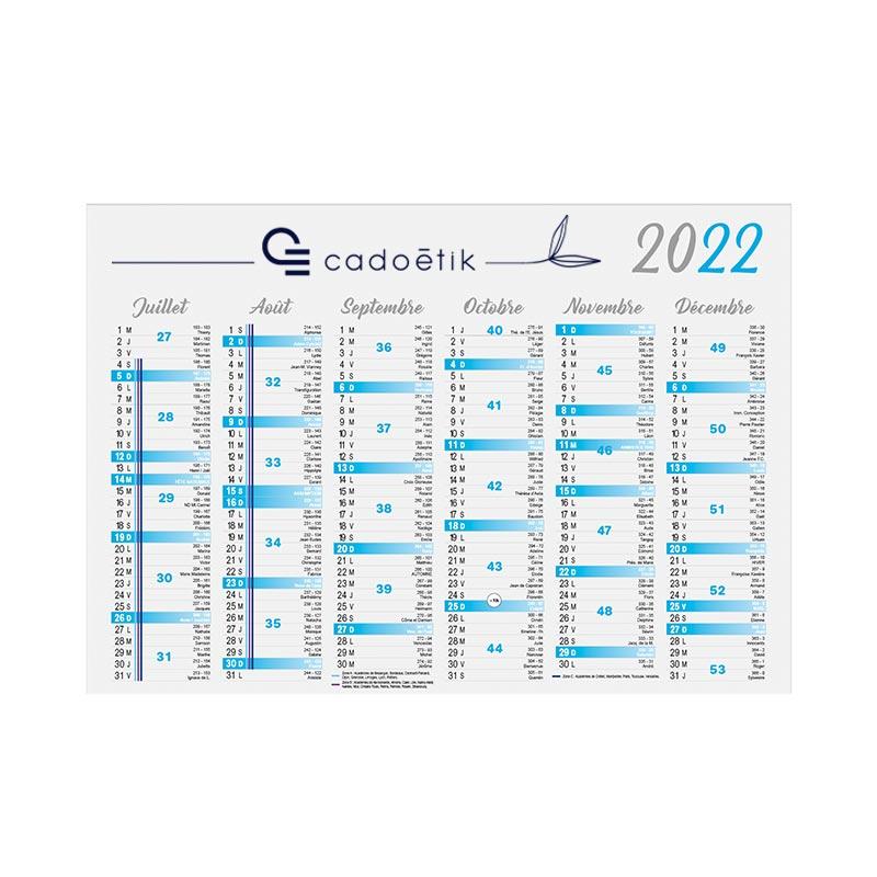 Calendrier publicitaire bancaire Cartonné Standard 2022