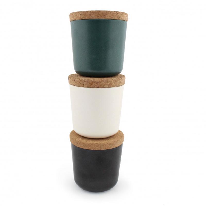 Mug publicitaire en bambou et liège avec sachet de thé couleurs