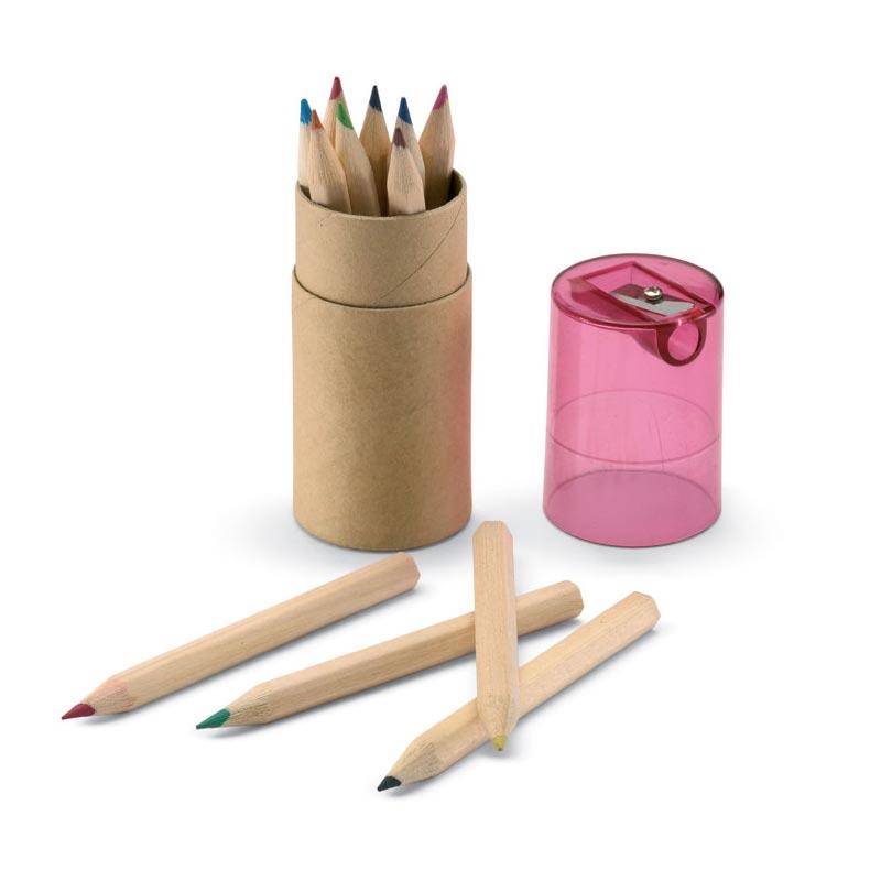 Objet publicitaire enfants - Tube 12 crayons de couleur K jaune
