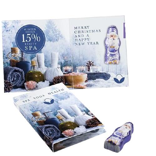 Carte chocolat publicitaire avec Père Noël Milka