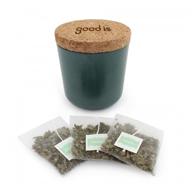 Mug publicitaire en bambou et liège avec sachet de thé vert
