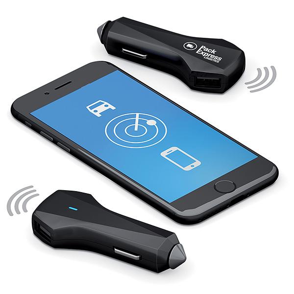 cadeau d'entreprise high-tech - chargeur connecté publicitaire Smart Car Charger