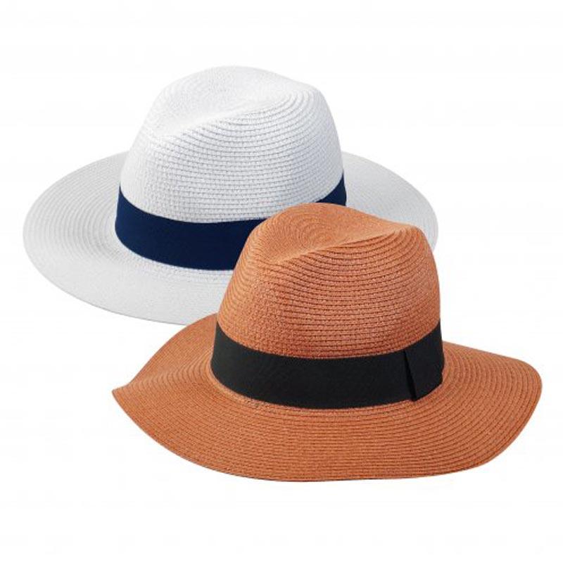 Chapeau de paille personnalisé Fedora - blanc marron