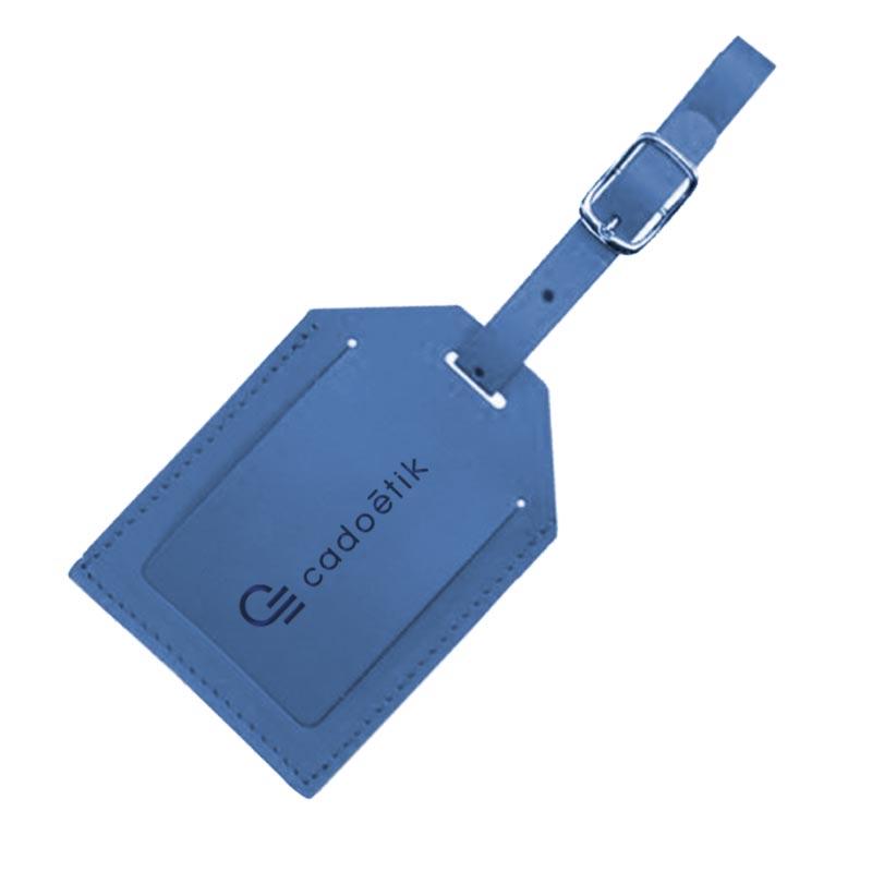 Porte étiquette bagage publicitaire en cuir recyclé World - Coloris bleu