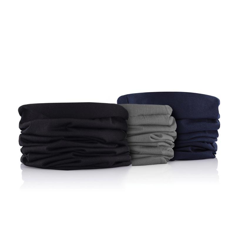 Gamme d'écharpes publicitaires multifonctionnelles bleue, noire, grise
