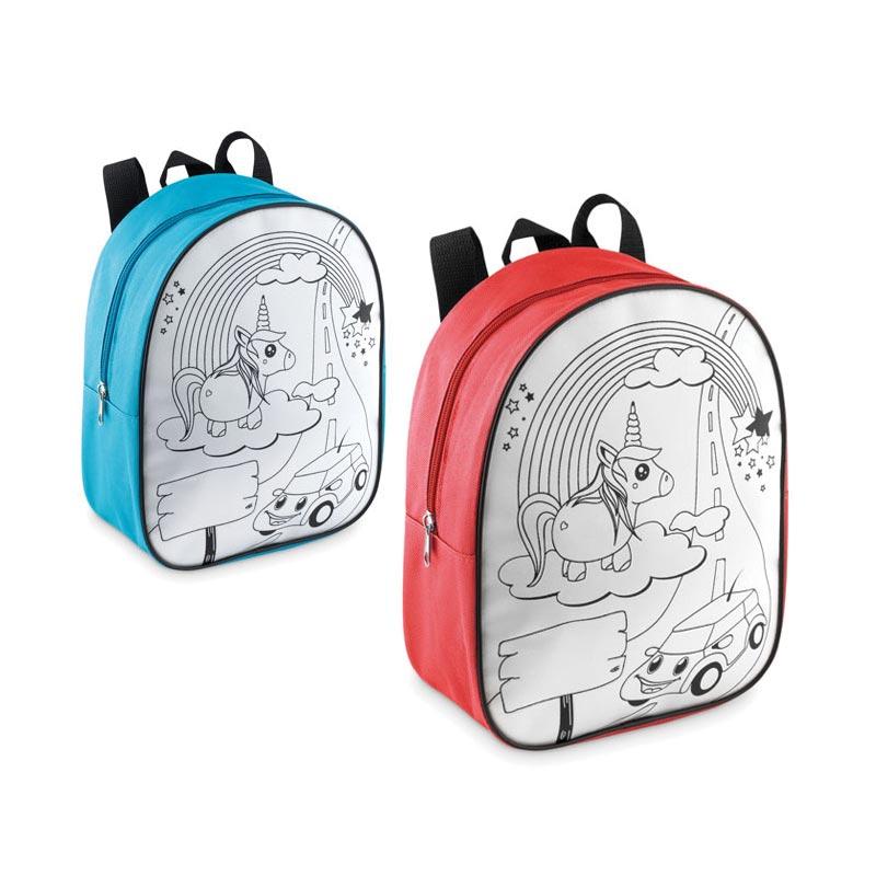 Cadeau publicitaire pour enfants - Sac à dos personnalisable à colorier en 600D Backsketchy