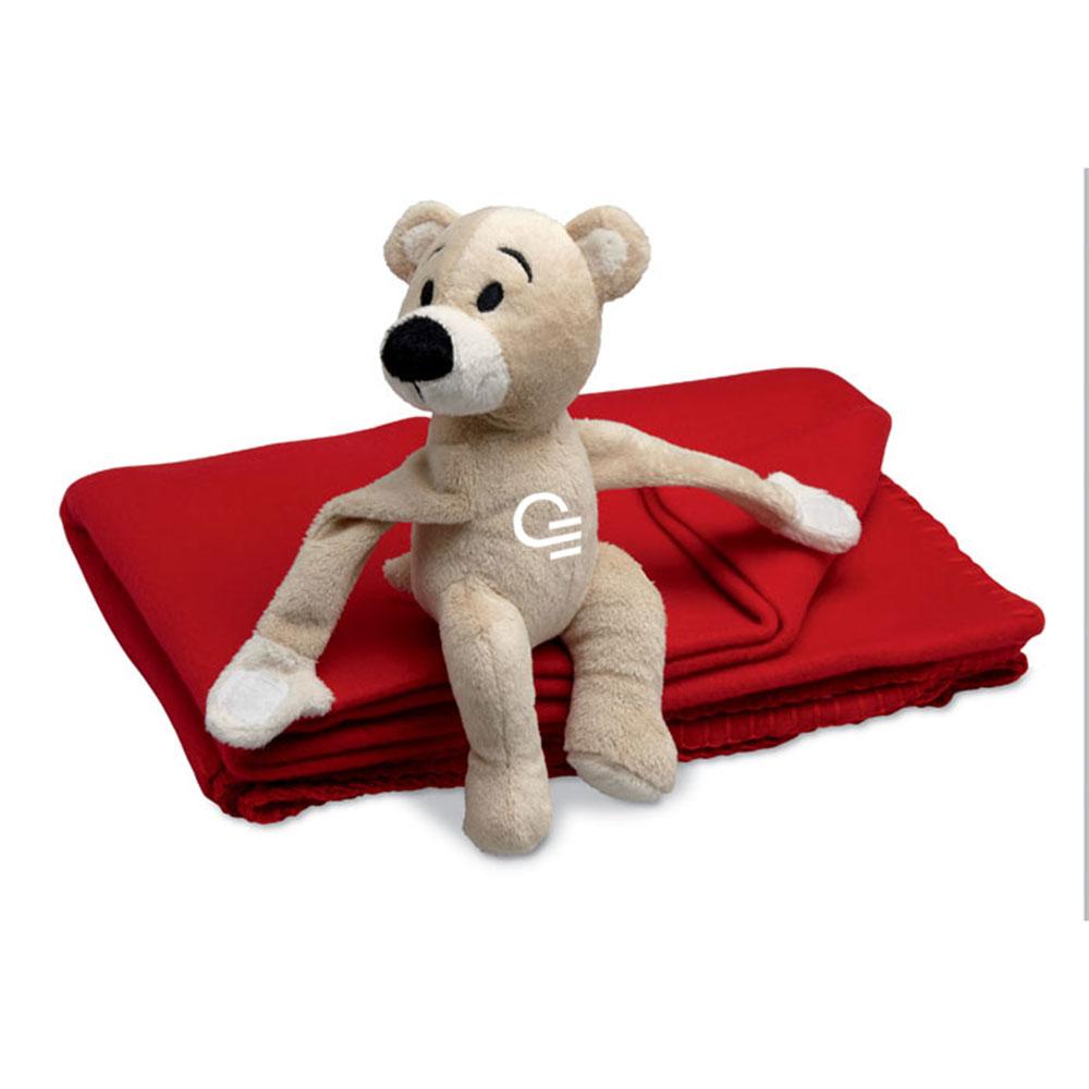 cadeau d'entreprise - couverture polaire publicitaire avec ours Manta