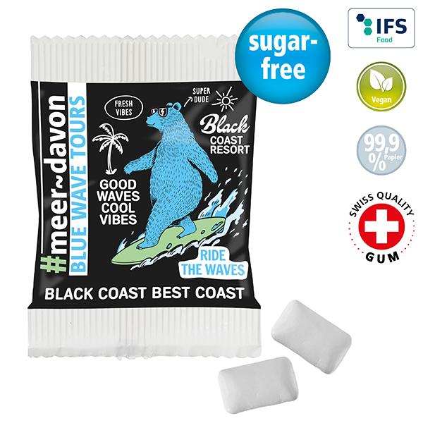 Chewing-gum duo en sachet papier FSC personnalisable