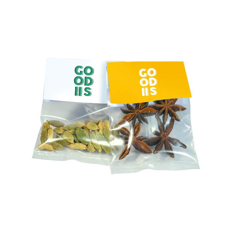 Petits cadeaux client - Sachet transparent d'épices Bio avec cavalier