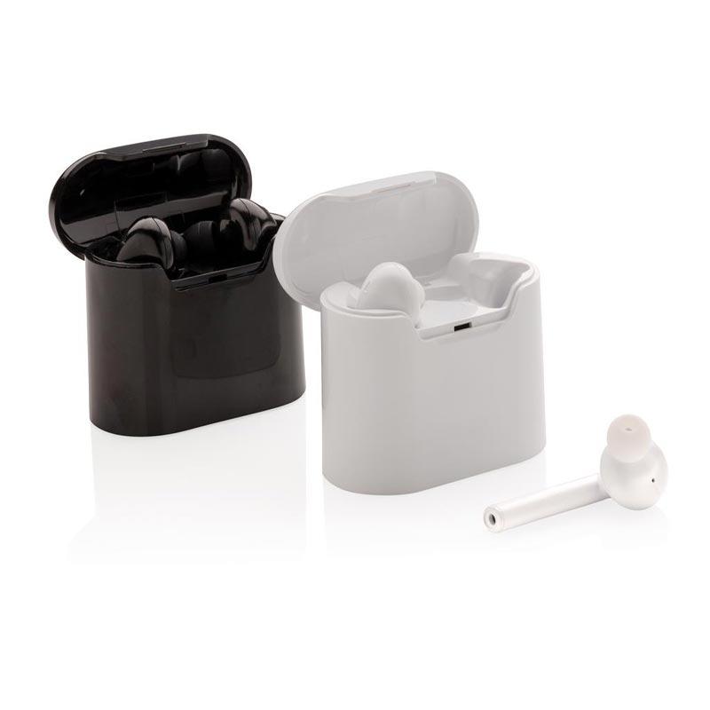 écouteurs sans fil en noir ou blanc