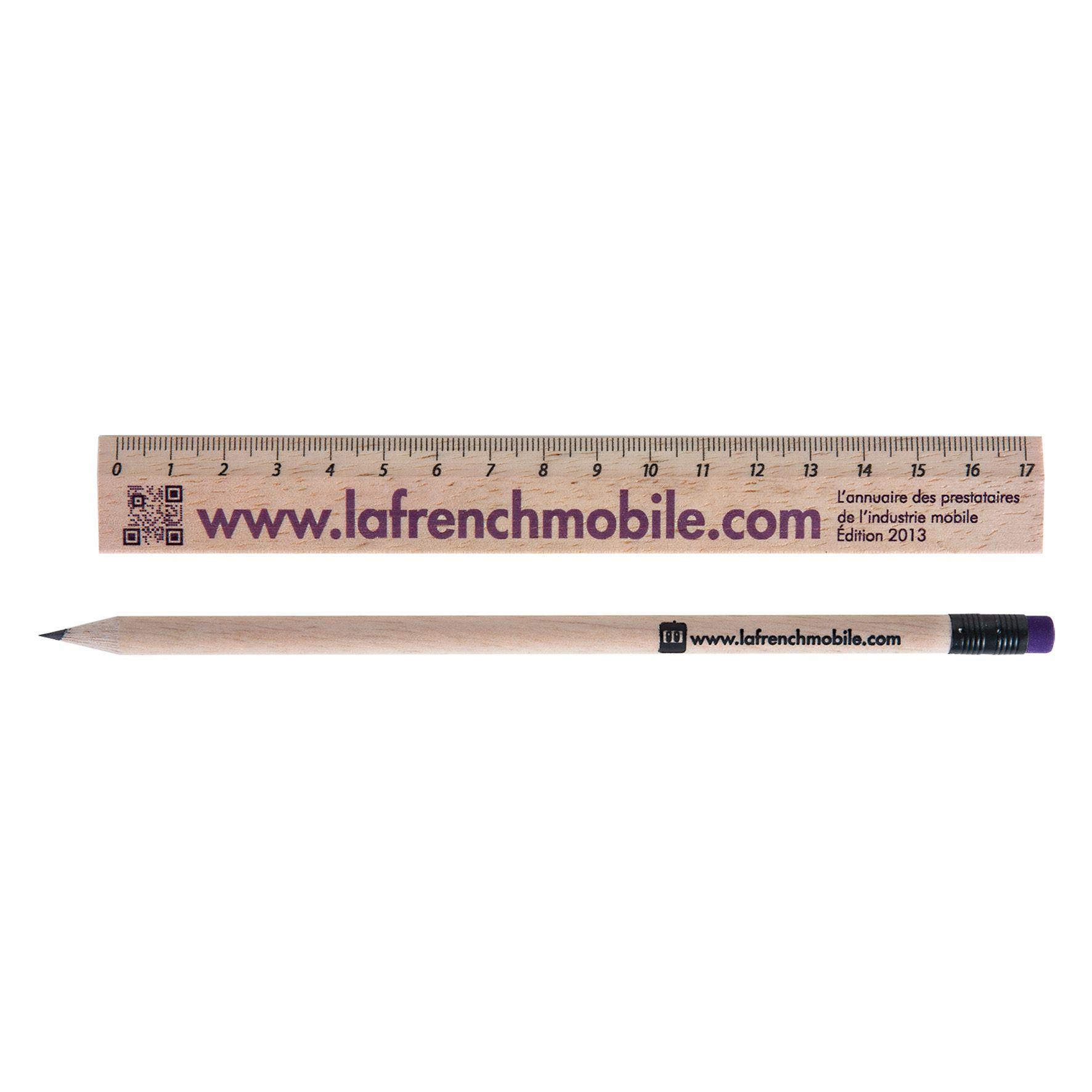 Cadeau publicitaire écologique - Kit règle et crayon à papier personnalisé Eco 2