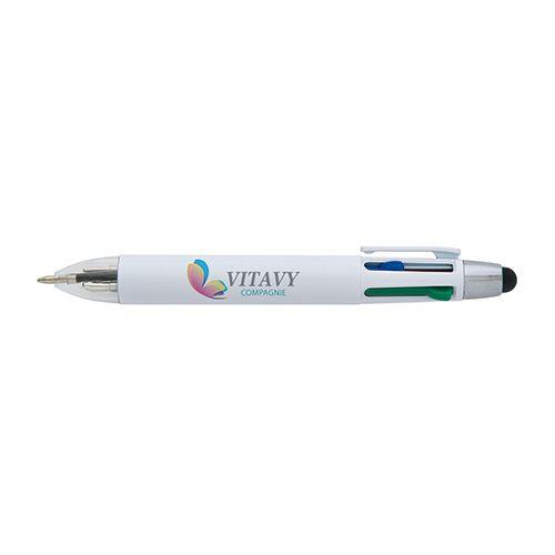 Stylo-stylet personnalisé Rondo - stylo publicitaire 4 couleurs